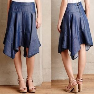Anthropologie HD in Paris Chambray Hanky Hem Skirt
